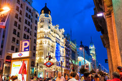 MADRID SPANJE - 23 JUNI, 2015: GRAN VIA straat, Madrid, Spanje Stock Foto's