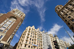 Madrid, Spanje 14 mar 2009 Mooie dag in Madrid gebouwen Royalty-vrije Stock Afbeeldingen