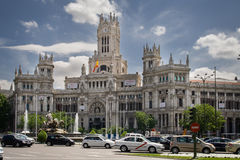 MADRID, SPANJE - MEI 13, 2009: Centraal Postkantoor - Palacio DE Comunicaciones bij het Vierkant van Cybele, Madrid, Spanje stock foto