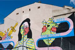 Madrid, Spanje - Mei 20 2018: Graffitikunstwerk in het centrum van Madrid stock afbeelding