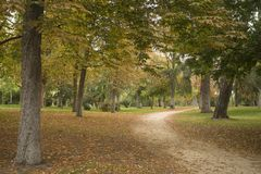 Madrid Spanje 17 oktober, 2017 Park Gr Retiro, met 125 hectaren en meer dan 15.000 bomen royalty-vrije stock afbeelding