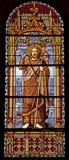 Madrid - St John det baptistiskt från fönsterruta av kyrkliga San Jeronimo el Real Royaltyfria Foton