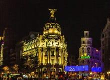 Madrid stad i natten Arkivbild