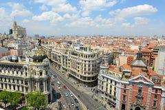 Madrid stadshorisont, Spanien Fotografering för Bildbyråer