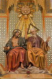 Madrid - Statue of Holy Trinity from side altar of Almudena cathedral on Royalty Free Stock Photo