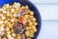 Madrid stew, typical Spanish dish with chickpeas Royalty Free Stock Photos