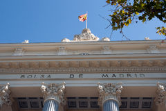 Madrid Stock Exchange, sign on main facade,  Retiro District Stock Images