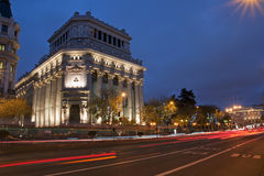 Madrid street at night. Urban landscape of the night in Madrid, Spain Royalty Free Stock Photos