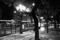 Madrid street scene at night. Black and white scenic view of Madrid street scene at night with bus stop shelters in foreground, Spain Royalty Free Stock Photo