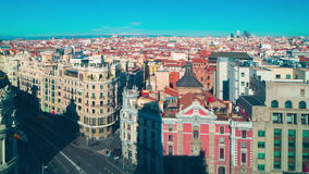 Madrid sunny day observation deck city panorama 4k time lapse spain stock video footage