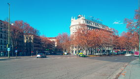 Madrid sunny morning traffic street hotel view 4k time lapse spain stock footage