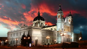 Madrid at sunset - Santa Maria la Real de La Almudena, Spain stock footage