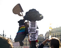 Madrid symbols with protest signs at the Spanish R Stock Photography