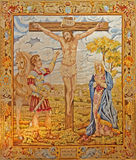 Madrid - Tapestry of Crucifixion in Iglesia catedral de las fuerzas armada de Espana Royalty Free Stock Photos