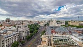 Madrid timelapse, Beautiful Panorama Aerial View of Madrid Post Palacio comunicaciones, Plaza de Cibeles, Prueba, Banco stock video