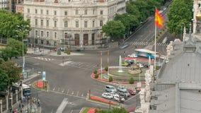 Madrid timelapse, Mooie Panorama Luchtmening van Madrid Postpalacio comunicaciones, Plaza DE Cibeles, Spanje stock footage