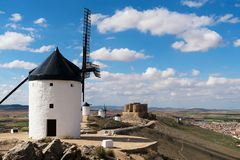 Madrid travel destination. Landscape of windmills of Don Quixote. Historical building in Cosuegra area near Madrid, Spain Stock Photo
