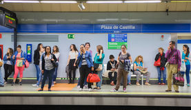 Madrid, Tube, underground station with commuters awaiting train Stock Image