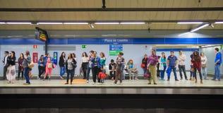 Madrid, Tube, underground station with commuters awaiting train Stock Image