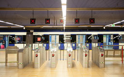 Madrid, Tube, underground station with commuters awaiting train Royalty Free Stock Photography