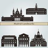 Madrid V2 Landmarks. Madrid V2  landmarks and monuments isolated on blue background in editable vector file Stock Photos