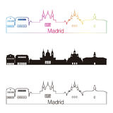 Madrid V2 Skyline Linear style with rainbow Stock Images