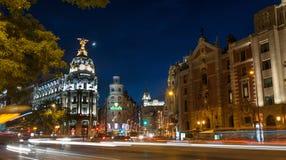 Madrid vid natt Arkivfoto
