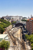 Madrid view, with Prince Pio railway station and Royal palace Royalty Free Stock Photo