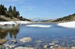 Madriu佩拉菲塔Claror谷的冰河湖 免版税库存图片