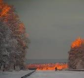 Madrugada con la primera nieve Foto de archivo
