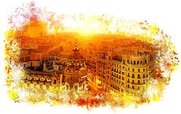Madryt, Gran Via fotografia stock