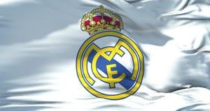 Madryt, Hiszpania, Kwiecień 11 2018, mistrza falowania tkaniny tekstury Real Madrid C ligowa flaga f futbolu klub, istna tekstury zbiory