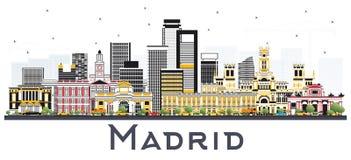 Madryt Hiszpania linia horyzontu z Szarymi budynkami Odizolowywającymi na bielu royalty ilustracja