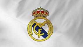 Madryt, Hiszpania - 3 2018 Listopad: Flaga real madrid C f co jest futbolowym klubem 2 w 1 royalty ilustracja