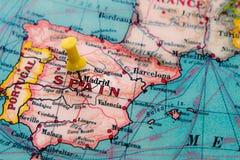 Madryt, Hiszpania przyczepiał na rocznik mapie Europa obrazy royalty free