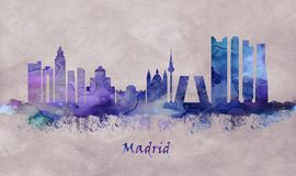 Madryt kapitał Hiszpania, linia horyzontu ilustracja wektor