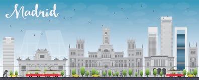Madryt linia horyzontu z popielatymi budynkami i niebieskim niebem ilustracji