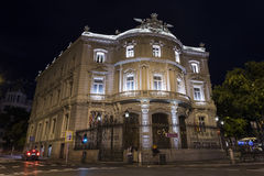 Madryt pałac przy nocą fotografia stock