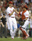 Madson Ruiz. Ryan Madson and Carlos Ruiz celebrate after defeating the Brewers 1-0  at Philadelphia Royalty Free Stock Image