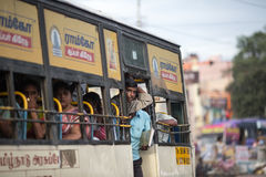 MADURAI, INDIA-FEBRUARY 15: Indian bus 15, 2013 in Madurai, Indi. A. People in the indian bus Stock Images