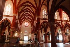 23 Madurai Luty 2018, India, świętego ` s Maryjna Katolicka Katedralna kościelna wewnętrzna architektura Obraz Stock