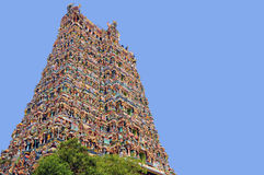 Madurai temple. One of the four monumental (West Gate) Gopurams of the Madurai Hindu temple ... Tamil Nadu ... Southern India ... good example of Dravidian Royalty Free Stock Images