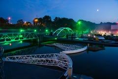 Madurodam by Light. Miniature of Waterway stormbarrier in Madurodam by evening light Stock Photo