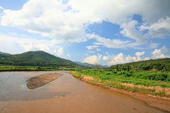 Mae Chaem river against blue sky in Chiang Mai Stock Photo