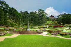 Mae Fah Luang flower garden. Is the famous destination in Chiang Rai. It located on the high hill which close to Myanmar border Royalty Free Stock Image