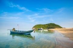 Mae Haad beach on Koh Phangan. Summer seascape on tropical island Koh Phangan in Thailand. Mae Haad beach and Koh Ma landscape royalty free stock photos