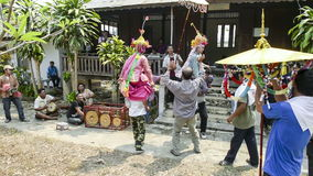 MAE HONG SON, THAILAND - APRIL 5, 2015: Unidentified musicians hitting long drum and gongs in Poy-Sang-Long festival,during in par stock footage