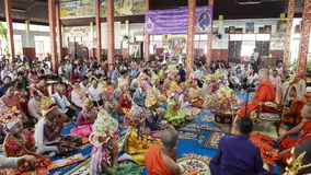 MAE HONG SON, THAILAND - APRIL 5, 2015: Unidentified novice in Poy Sang Long festival ordination traditional annual ceremony of Wa stock video footage