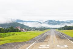 Mae Hong Son, Thailand January 18, 2018 : Airport runway in the morning sunrise time.  royalty free stock photos