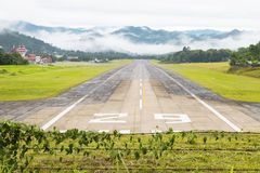 Mae Hong Son, Thailand January 18, 2018 : Airport runway in the morning sunrise time.  royalty free stock images